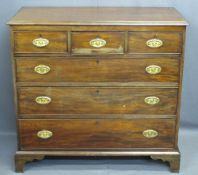 GEORGIAN MAHOGANY CHEST OF DRAWERS with three short over three long drawers, drop handles with