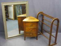 LARGE GILT FRAME MIRROR, 105cms H, 74cms W, a corner chest of three drawers, 60cms H, 44cms W, 41cms