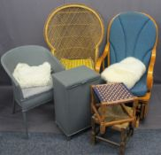 FURNITURE PARCEL to include an American style rocking chair, a basket weave chair, two items of