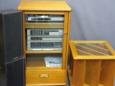 G PLAN ENTERTAINMENT CUPBOARD, 98cms H, 57cms W, 52cms D, with Fisher stereo combination Hifi and