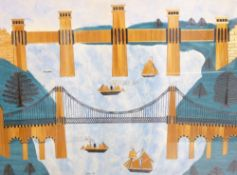 STRAW WORK & WATERCOLOUR - fine depiction entitled 'Menai and Britannia Bridges' with numerous boats