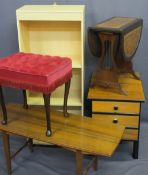 VINTAGE & MODERN FURNITURE PARCEL including a melamine open bookcase, stylish mid-century three
