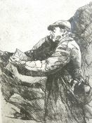 DAVID CARPANINI limited edition etching 08/10 - portrait of Sir Kyffin Williams sketching en