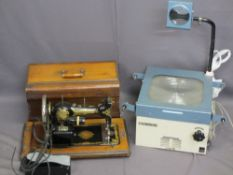 CASED JONES SEWING MACHINE VINTAGE converted to electric with foot pedal and a vintage overhead