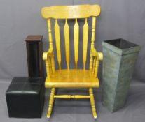 MODERN FURNITURE - lightwood rocking chair, 110cms H, 67cms W, 82cms D, metal plant stand, CD