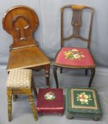 MAHOGANY HALL CHAIR, tapestry seat pierced splatback chair, two foot stools and another in pine (5