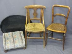 ARTS & CRAFTS STRING SEAT CHAIR, 80cms H, 40cms W, 38cms D, one other with cane seat (for