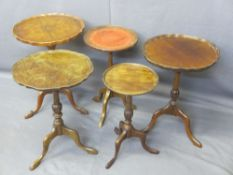 WINE TABLES - parcel of five, mahogany/walnut on tripod legs, 53cms H, 39cms D the largest