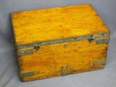 WOODEN BOX - metal banded with iron handles, 33cms H, 61cms W, 41cms D
