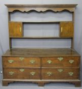 19TH CENTURY & LATER FOUR DRAWER DRESSER with cupboard rack, fancy pierced brasswork with swan