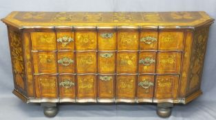 19TH CENTURY DUTCH MARQUETRY INLAID CHEST of three shaped drawers, urn and floral side panels