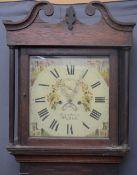 JOHN OWEN PWLLHELI CIRCA 1830 OAK LONGCASE CLOCK, 14in square painted dial set with Roman