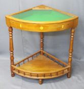 REPRODUCTION CORNER BIJOUTERIE DISPLAY TABLE with lift up lid and lower galleried shelf, 76cms H,