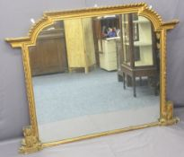 OVERMANTLE MIRROR - large Victorian gilt famed with shaped top, 125cms H, 170cms W, 10cms D