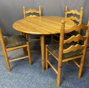 MODERN TWIN FLAP PINE BREAKFAST TABLE & FOUR CHAIRS, 105cms diameter the table