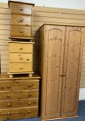 MODERN PINE FURNITURE - four items, widest chest of drawers 75cms