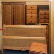 PINE BEDROOM FURNITURE to include two door wardrobe, 176cms H, 86cms W, 52cms D, two/four drawer