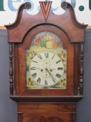 F HEBDEN HALIFAX VICTORIAN MAHOGANY LONGCASE CLOCK painted arched top dial set with Roman