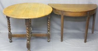 OAK TWIST COACHING TABLE, 72cms H, 92cms W, 11cms D and a semi-circular hall table on tapered