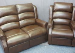 ELECTRIC RECLINING CHAIR - brown faux leather, 104cms H, 80cms W, 90cms D and two seater reclining