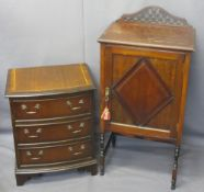 BOW FRONT CHEST, three drawer with inlay, 62cms H, 51cms W, 38cms D and a single door nightstand,