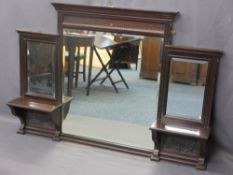 OVERMANTLE MIRROR with centre bevel edge mirror and two smaller either side above shelves and