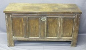 OAK COFFER with four panel front and back, twin panel sides, lift up lid with eye hook hinges, 73cms