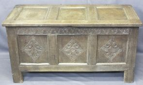 OAK COFFER - three panel front with diamond carved detail, 66cms H, 125cms W, 56cms D