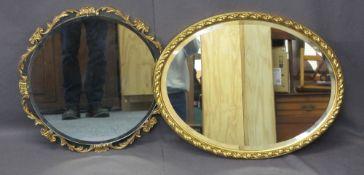 OVAL GILT FRAME BEVEL EDGE MIRROR, 51 x 60cms and a circular example, 51cms diameter