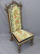PRIE DIEU CHAIR, Victorian walnut tapestry upholstered with twist side detail and carved crest rail,