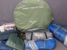 CAMPING EQUIPMENT to include Outwell 'Jersey M' pop-up tent and 'Montana 4' tent, Blacks 'Lupus' and
