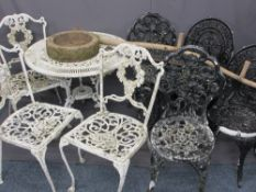 VINTAGE METAL GARDEN FURNITURE - a parcel of two metal tables, 69cms H, 80cms D and 65cms H, 61cms