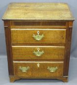 19TH CENTURY OAK & MAHOGANY RE-PROPORTIONED CHEST of three drawers with reeded side detail, bone
