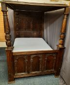 ANTIQUE OAK FULL TESTER BED, 18TH CENTURY & LATER, with profuse carved detail, panelled canopy and