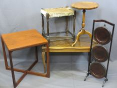 MID-CENTURY TEAK, VINTAGE & REPRODUCTION OCCASIONAL FURNITURE, five items to include an oak