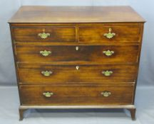 GEORGIAN MAHOGANY CHEST of two short over three long drawers, oak lined with cock beaded edging,