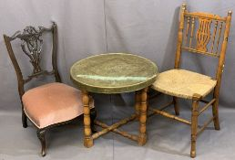 BENARES TYPE BRASS TOP FOLDING TABLE & TWO SIDE CHAIRS, one being nursing type in mahogany