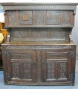 17TH CENTURY & LATER OAK BUFFET SIDEBOARD DATED 1696 WITH INITIAL 'T F', the upper section with twin