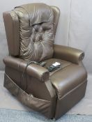 COSI BROWN LEATHER EFFECT ELECTRIC RECLINING ARMCHAIR E/T, 115cms H, 82cms W, 58cms seat depth