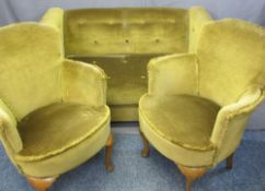 PARKER KNOLL VINTAGE BUTTON UPHOLSTERED DROP-END TWO SEATER SETTEE and a pair of similarly