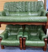 GREEN LEATHER EFFECT THREE PIECE LOUNGE SUITE of three seater settee and two armchairs, 94cms H,