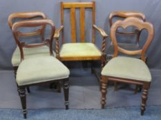 DINING CHAIR PARCEL - twin slatback, twist front leg elbow, three balloon back with 'scroll' support