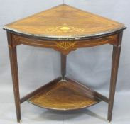 CIRCA 1900 INLAID ROSEWOOD TWO-TIER CORNER STAND, 69cms H, 68cms W, 46.5cms D
