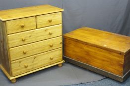 VINTAGE PINE LIDDED CHEST and a reproduction pine chest of two short over three long drawers on
