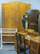 VINTAGE WALNUT & OTHER HARLEQUIN BEDROOM SUITE consisting of two-door wardrobe with carved swag