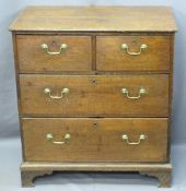 NEATLY PROPORTIONED ANTIQUE OAK CHEST of two short over two long drawers, pine lined with