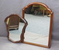 MAHOGANY FRAMED SHAPED MIRROR, 59cms H, 47cms W and a walnut framed converted dressing table mirror,