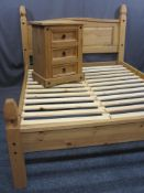 MODERN PINE 4FT 6INS BED FRAME with matching three drawer bedside chest, 116cms max H, 148cms max W,