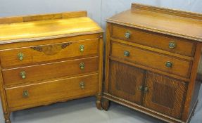 VINTAGE OAK TALLBOY and a non-matching three drawer bedroom chest, 97cms overall H, 77.5cms W, 46cms