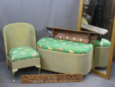 VINTAGE FURNITURE PARCEL, five items to include a Lloyd Loom style bedroom chair and blanket chest